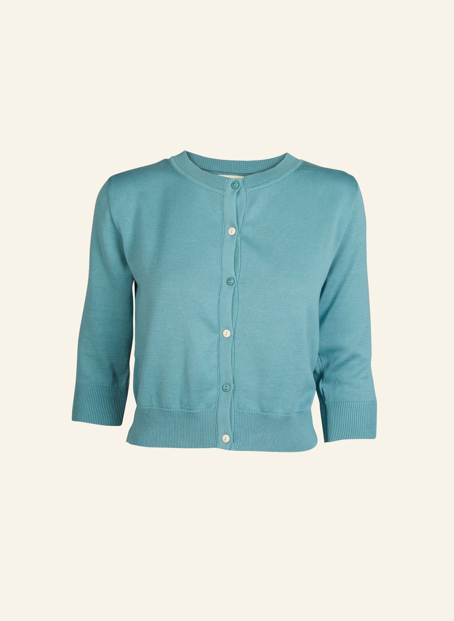 Vera - Teal - Organic Cotton Cardigan