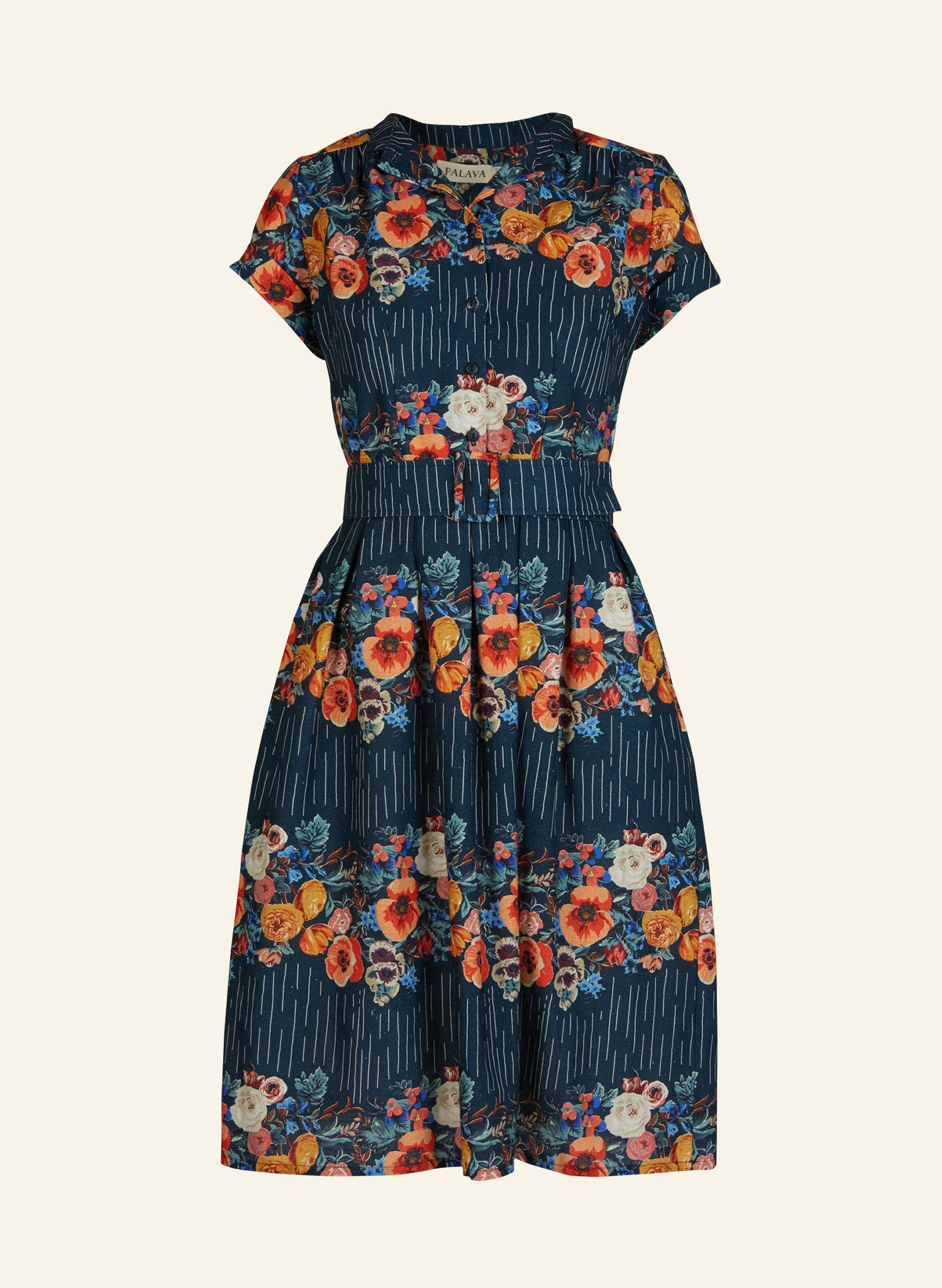 Louise - Navy Floral Garland Dress | Cotton Linen Blend