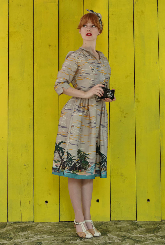 Cynthia - Desert Island Long-sleeved Organic Cotton Shirt Dress