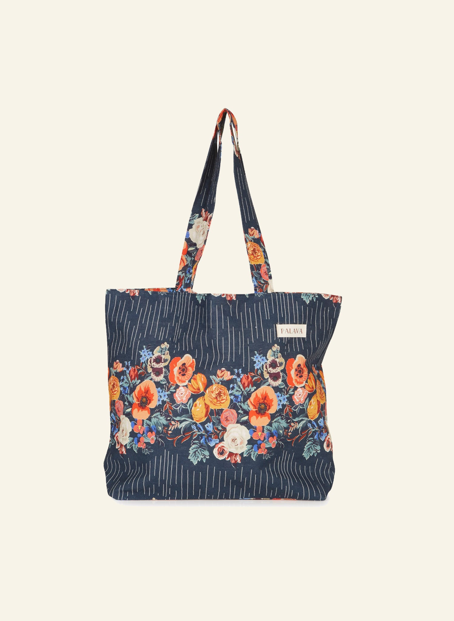 Large Shopper - Navy Floral Garland
