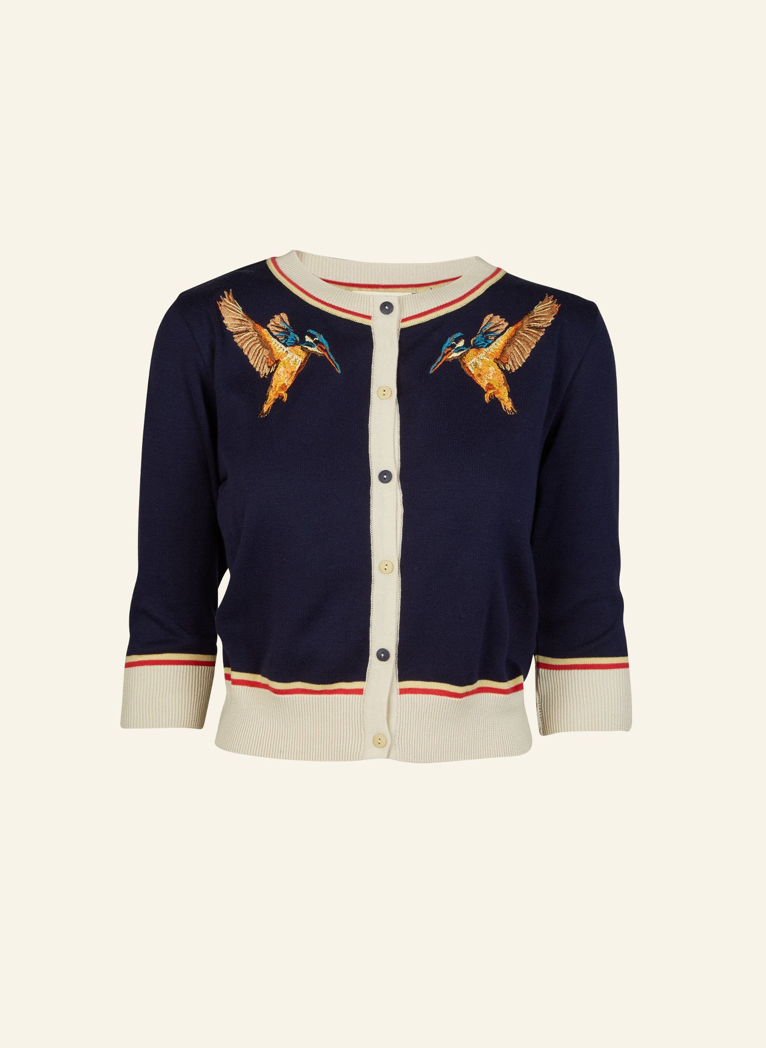 Vera - Navy Kingfisher - Organic Cotton Cardigan