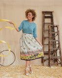 Ada - Ivory Circus Parade Skirt | Cotton-Linen Blend