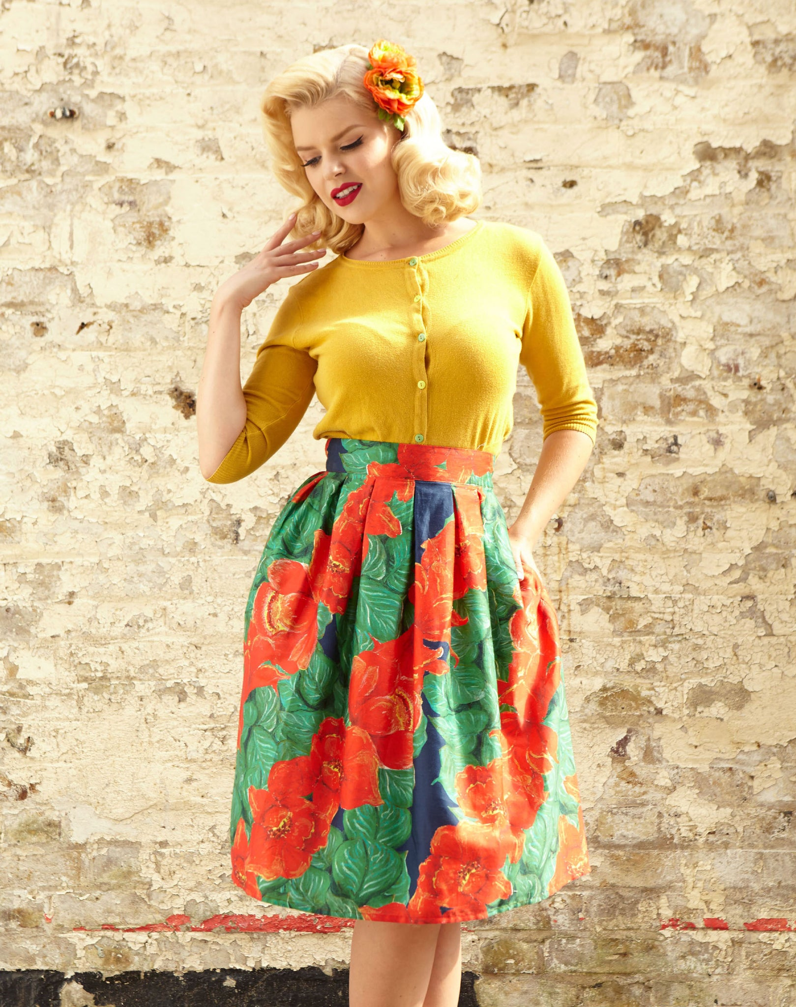 Ada - Red Camellia Print Tropical Elegant Vintage-style Skirt with Pockets