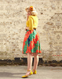 Ada - Red Camellia Print Tropical Floral Vintage-style Skirt