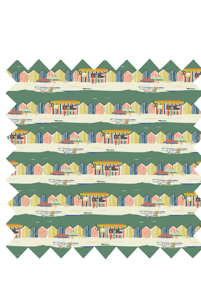 Green Beach Huts Fabric - Organic Cotton Sateen