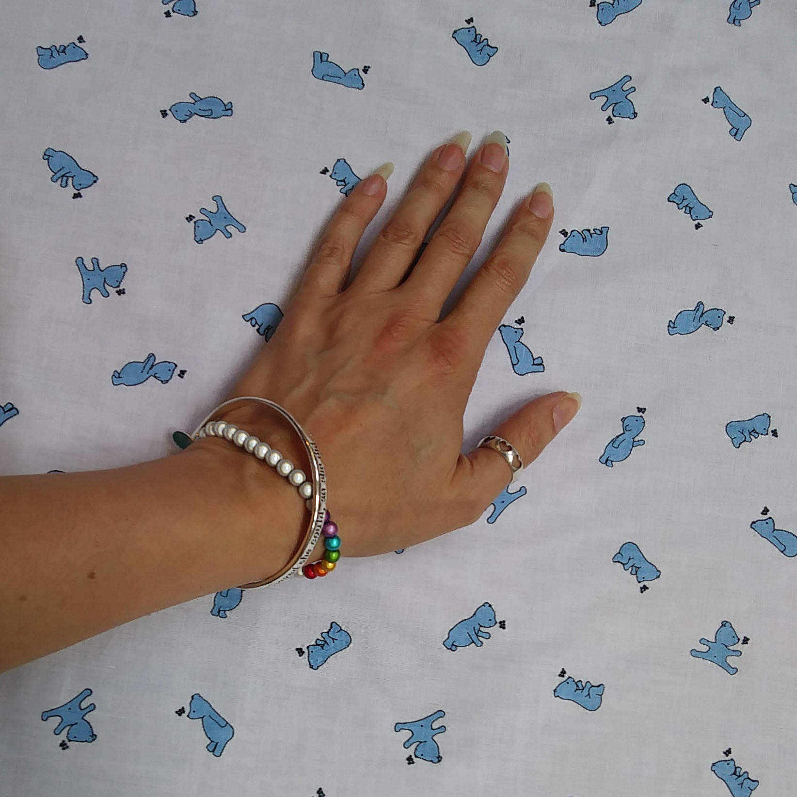 Little Blue Bear Fabric - Cotton