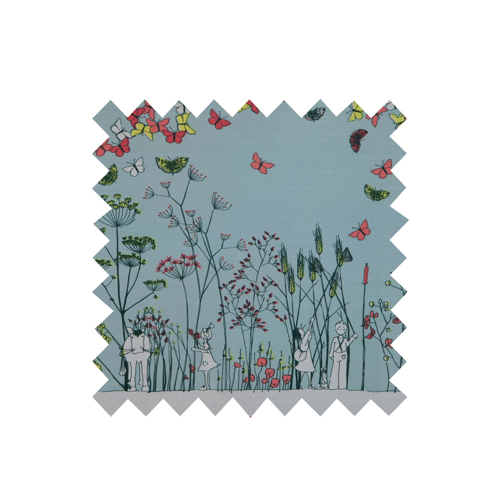 Light Blue Chasing Butterflies Fabric