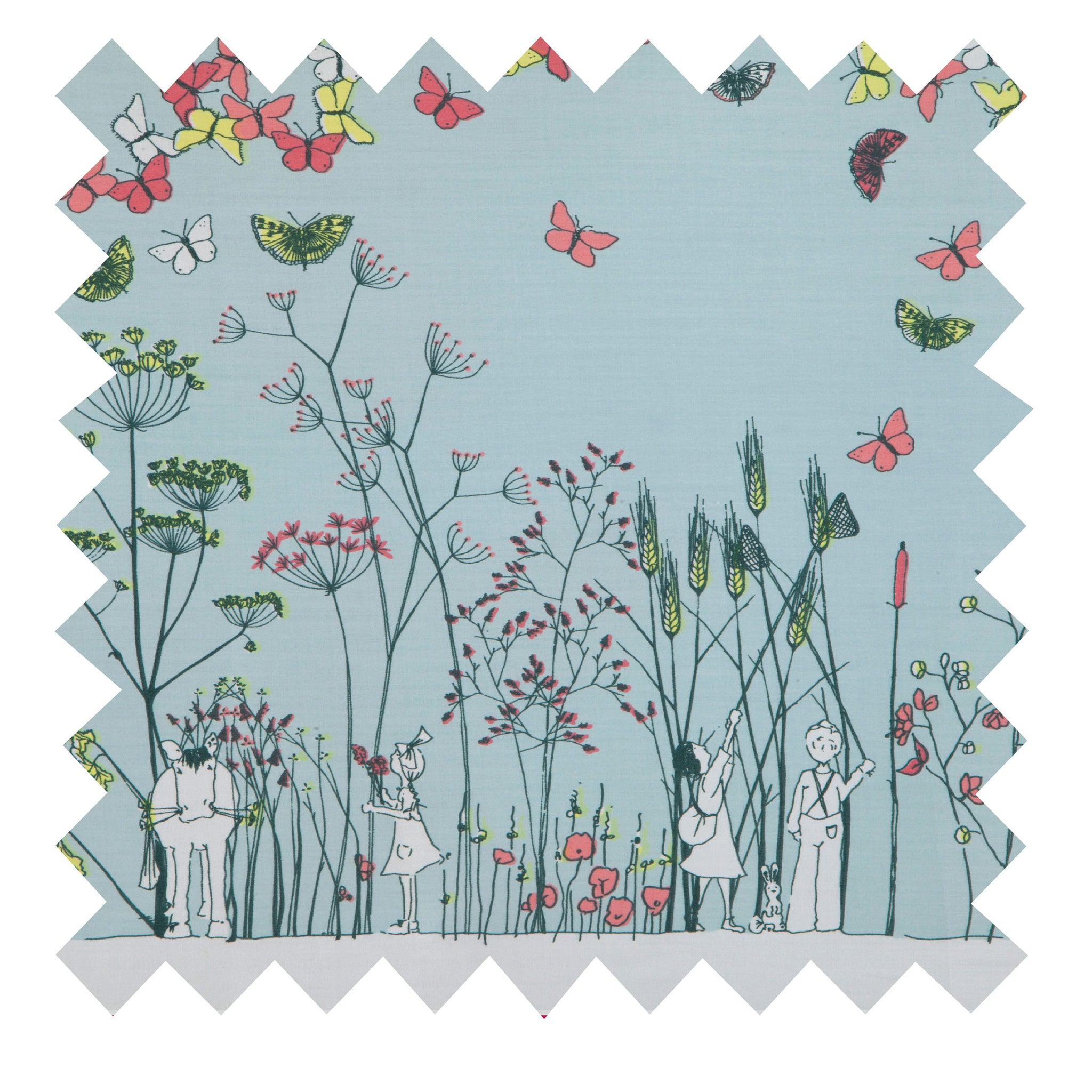 Light Blue Chasing Butterflies Fabric - Cotton Sateen