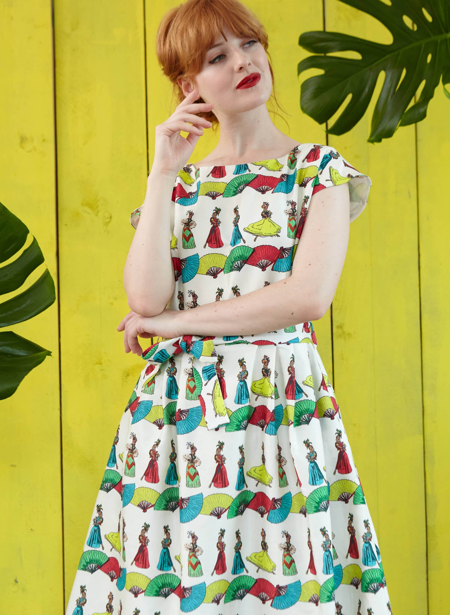 Beatrice - Ivory Dancing Lady Print Retro 1950s Summer Dress for Women