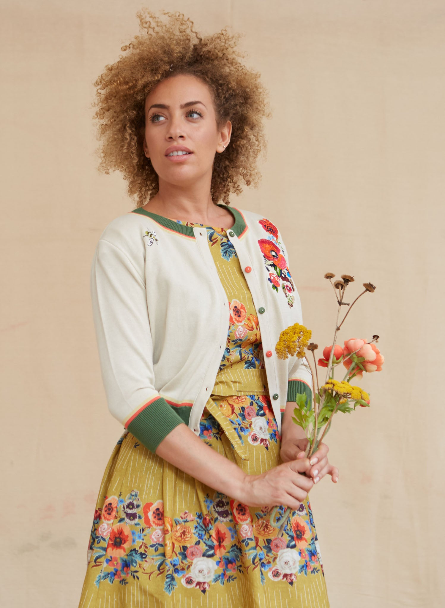 Beatrice Cap - Mustard Floral Garland Dress | Cotton-Linen Blend