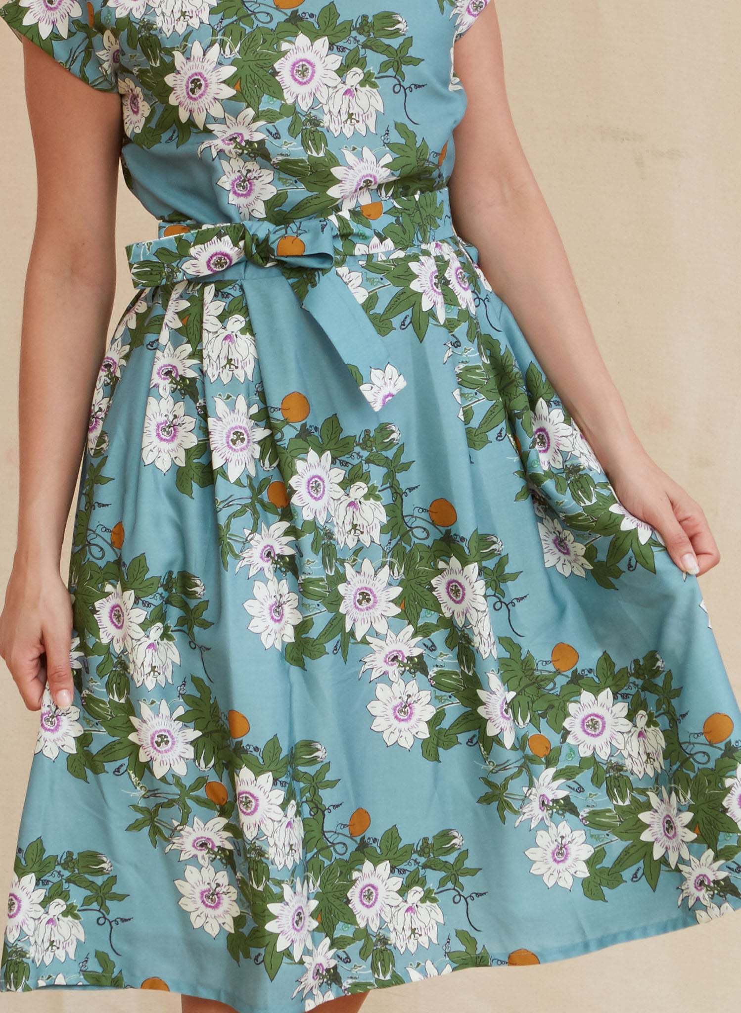 Beatrice Cap - Tencel Teal Passionflower Dress