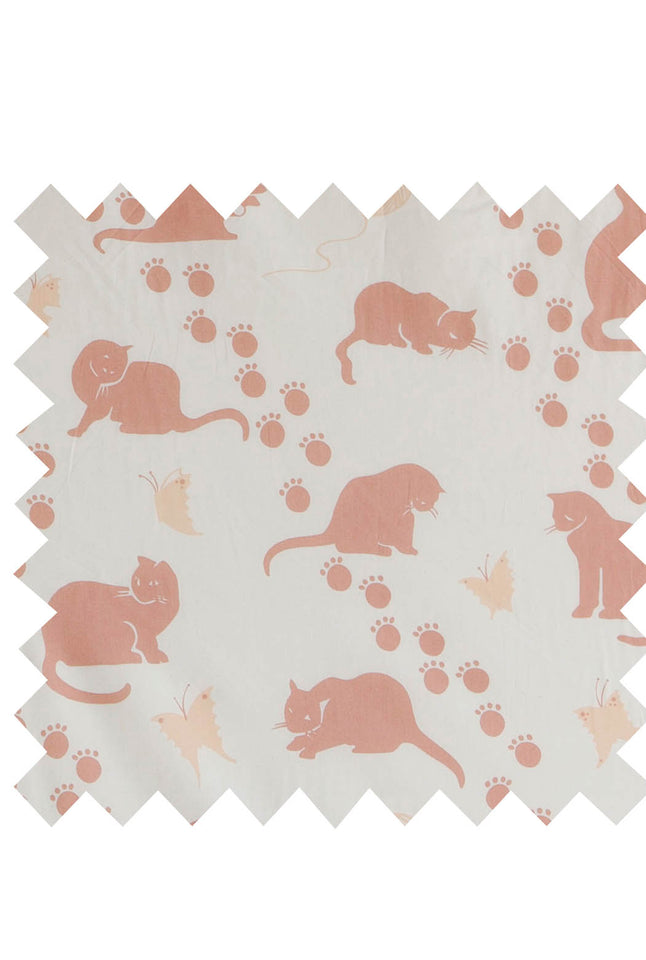 Ecru Large Cat Print Fabric
