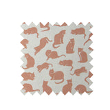 Ecru Small Cat Print Fabric - Cotton