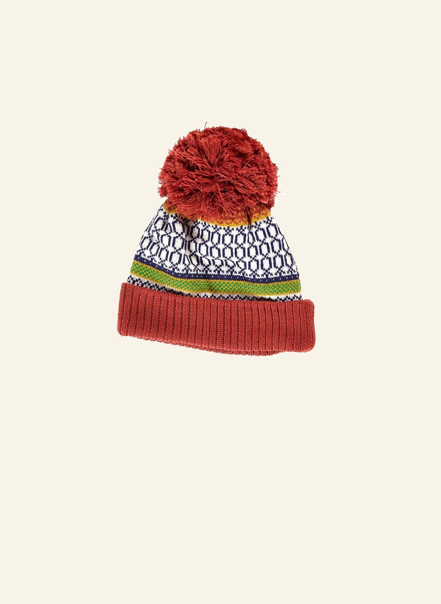 Children's Bobble Hat - Red Geometric Knit