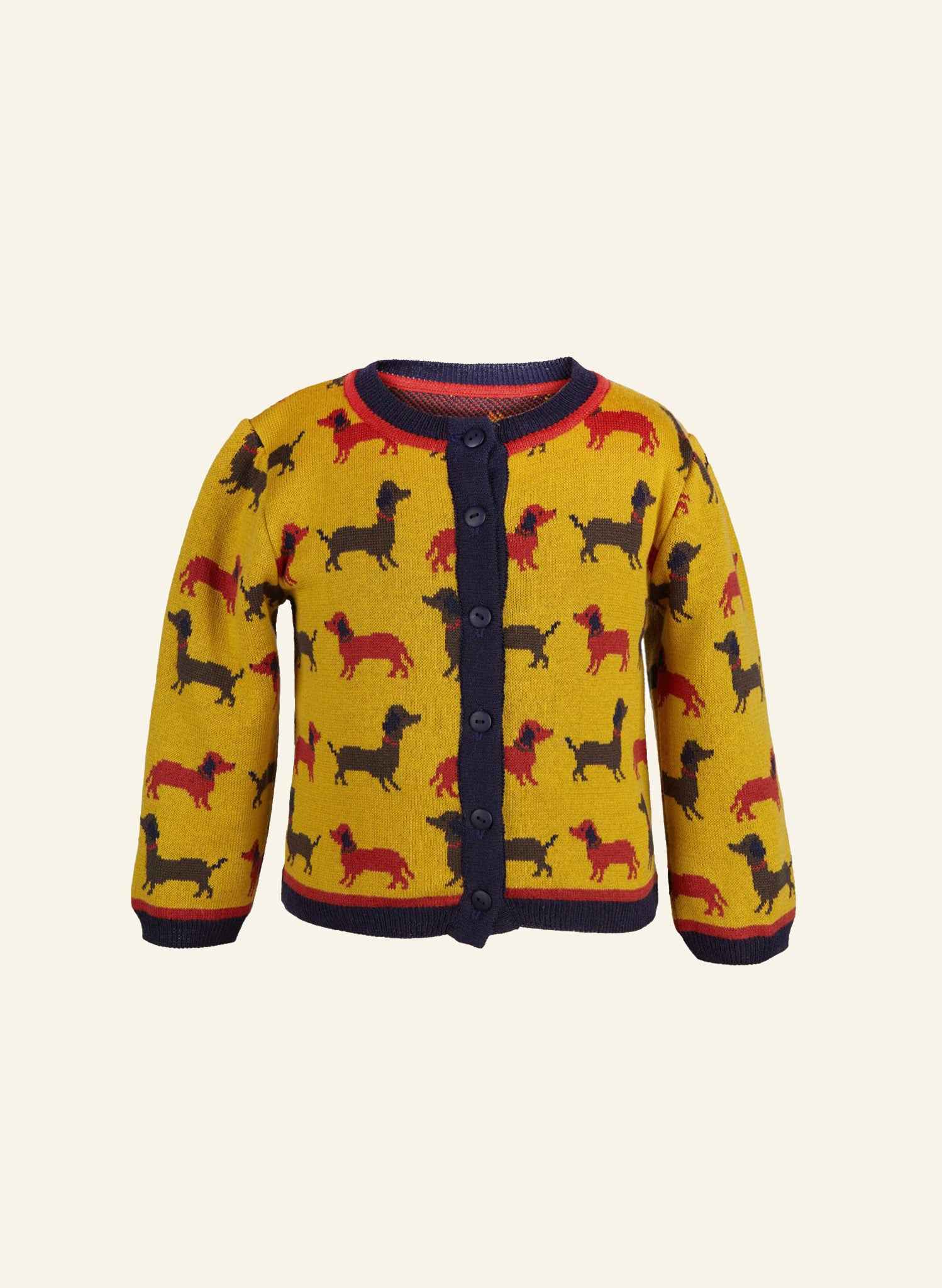 Children's Cardigan - Mustard Sausage Dog