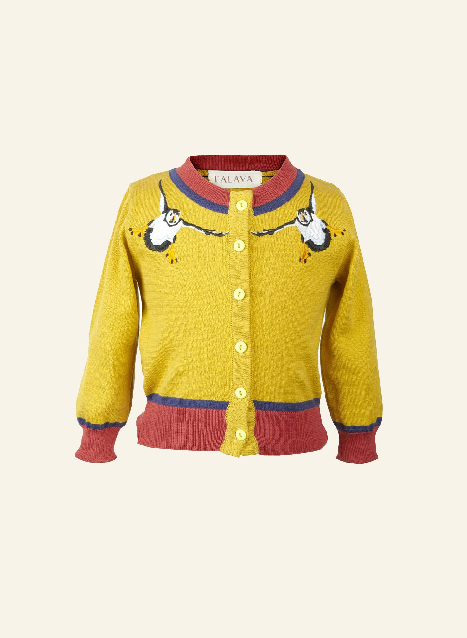 Children's Classic Cardigan - Mustard Puffin