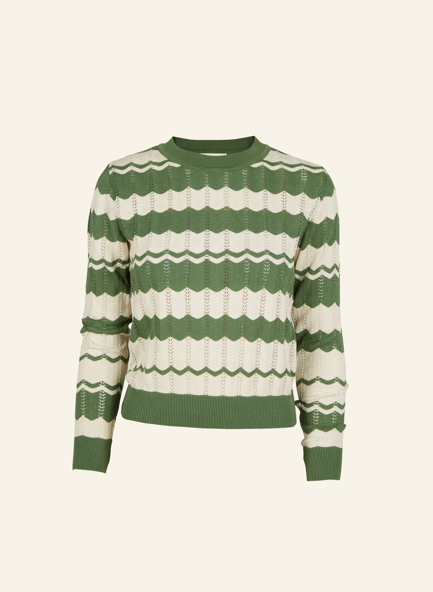 Clara - Green Zigzag Knitted Top - Organic Cotton