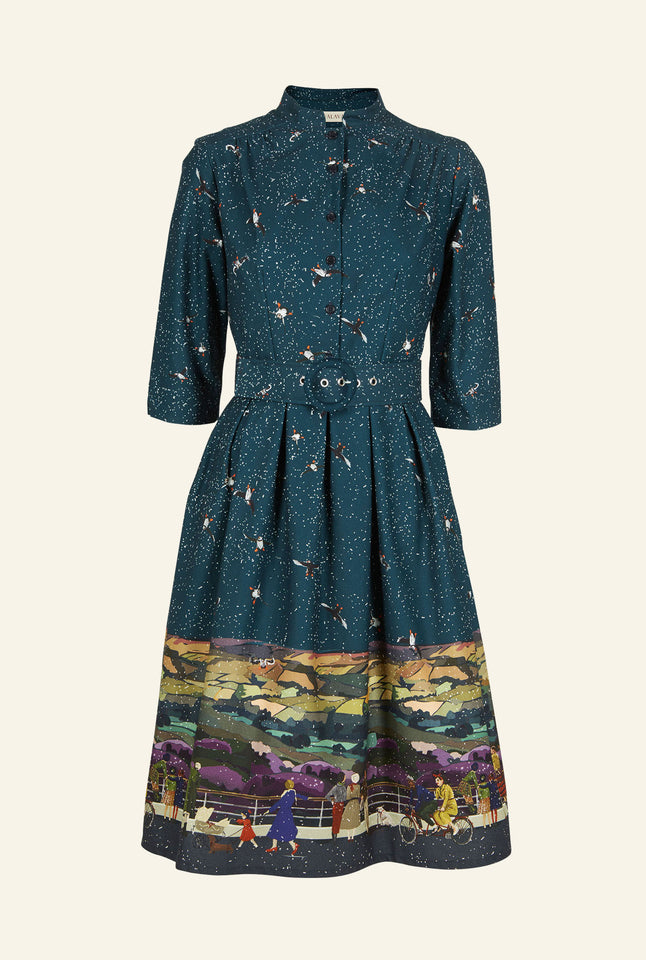 Cynthia - Teal Yorkshire Dales Dress - 100% Organic Cotton