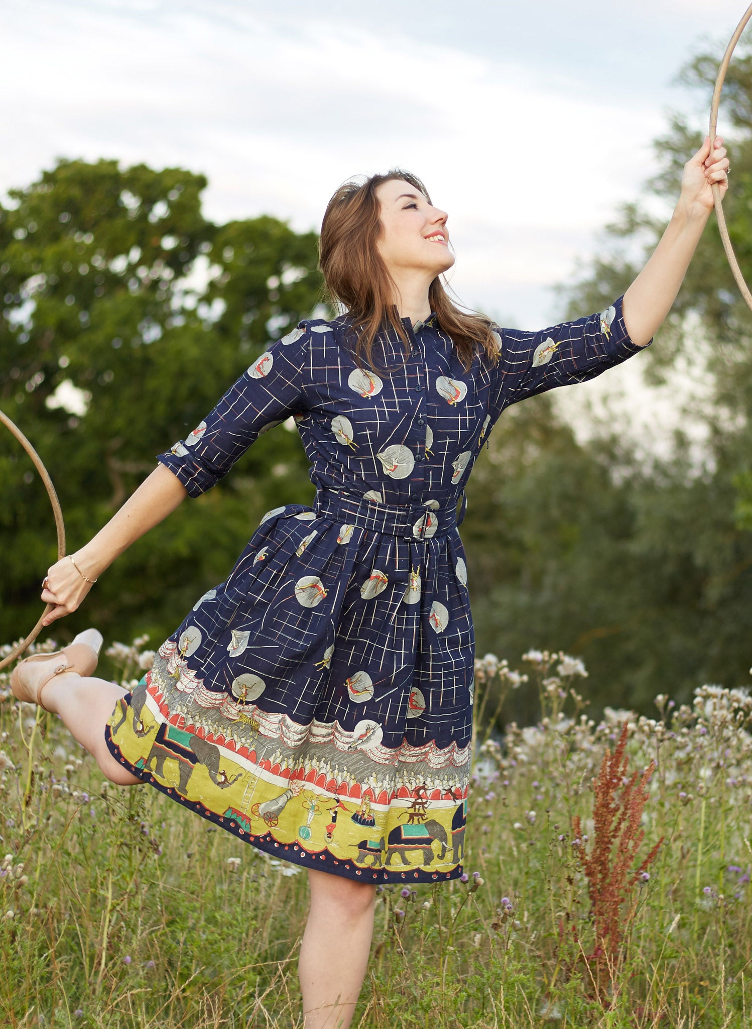 Cynthia - Navy Circus Parade Dress | Cotton - Linen Blend