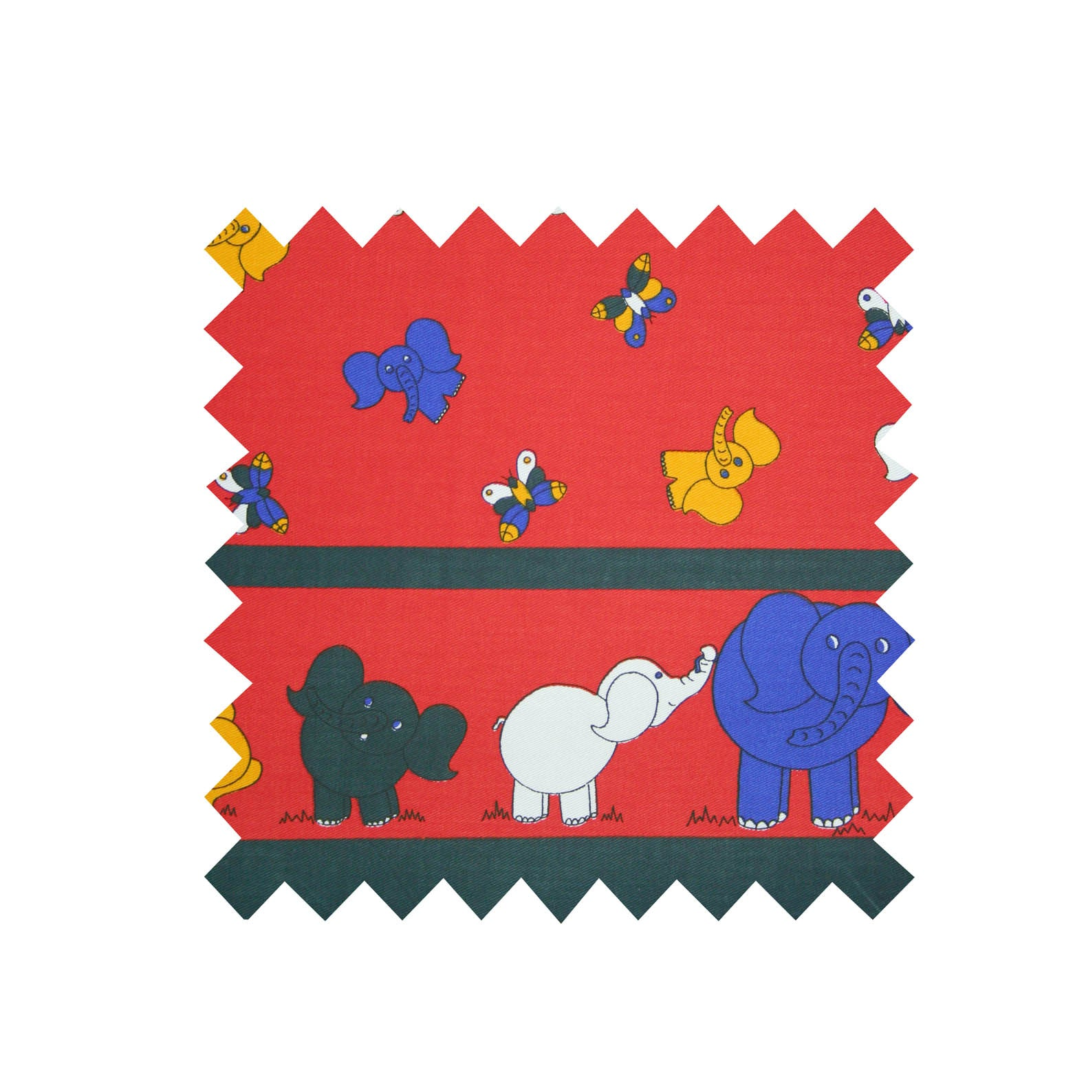 Elephant Red Twill Border Print Fabric - Cotton