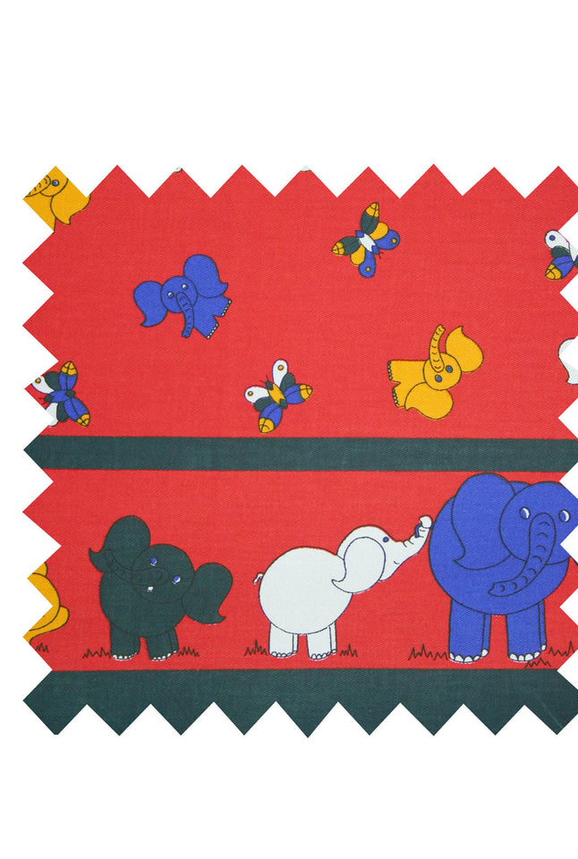 Elephant red twill border print  fabric