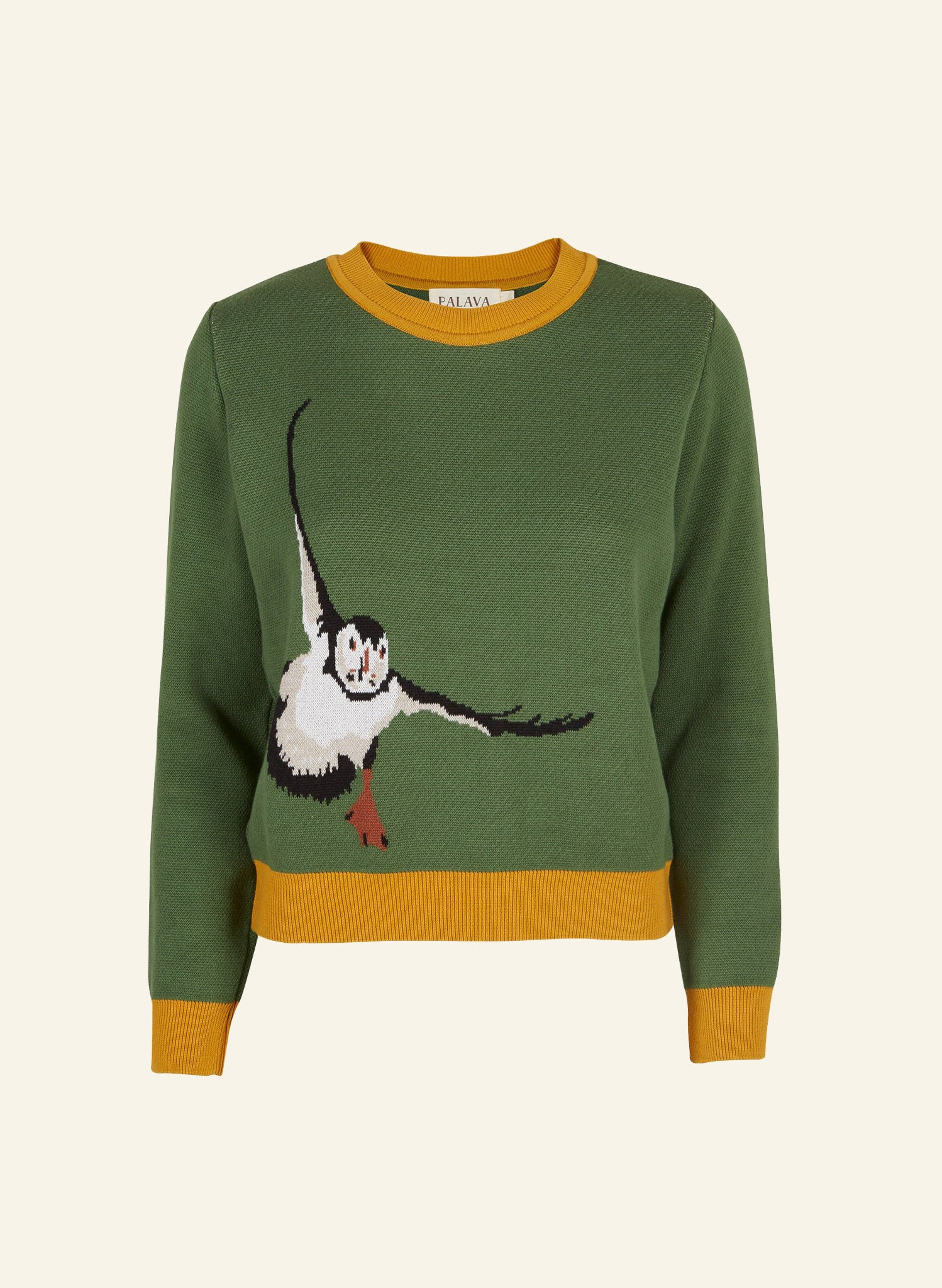 Esther - Green Puffin Organic Cotton Jumper