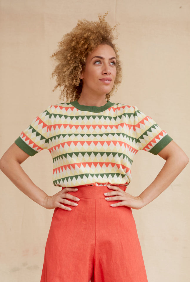 Eve Harlequin Knitted Top - Coral and Green | Organic Cotton