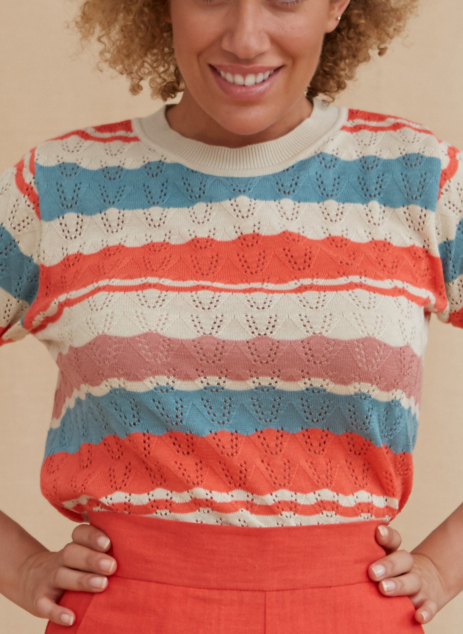 Eve Zigzag Knitted Top - Coral and Teal | Organic Cotton