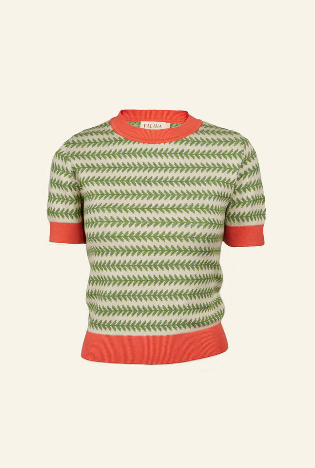 Palava Eve Knitted Top - Green Leaf Design in Organic Cotton