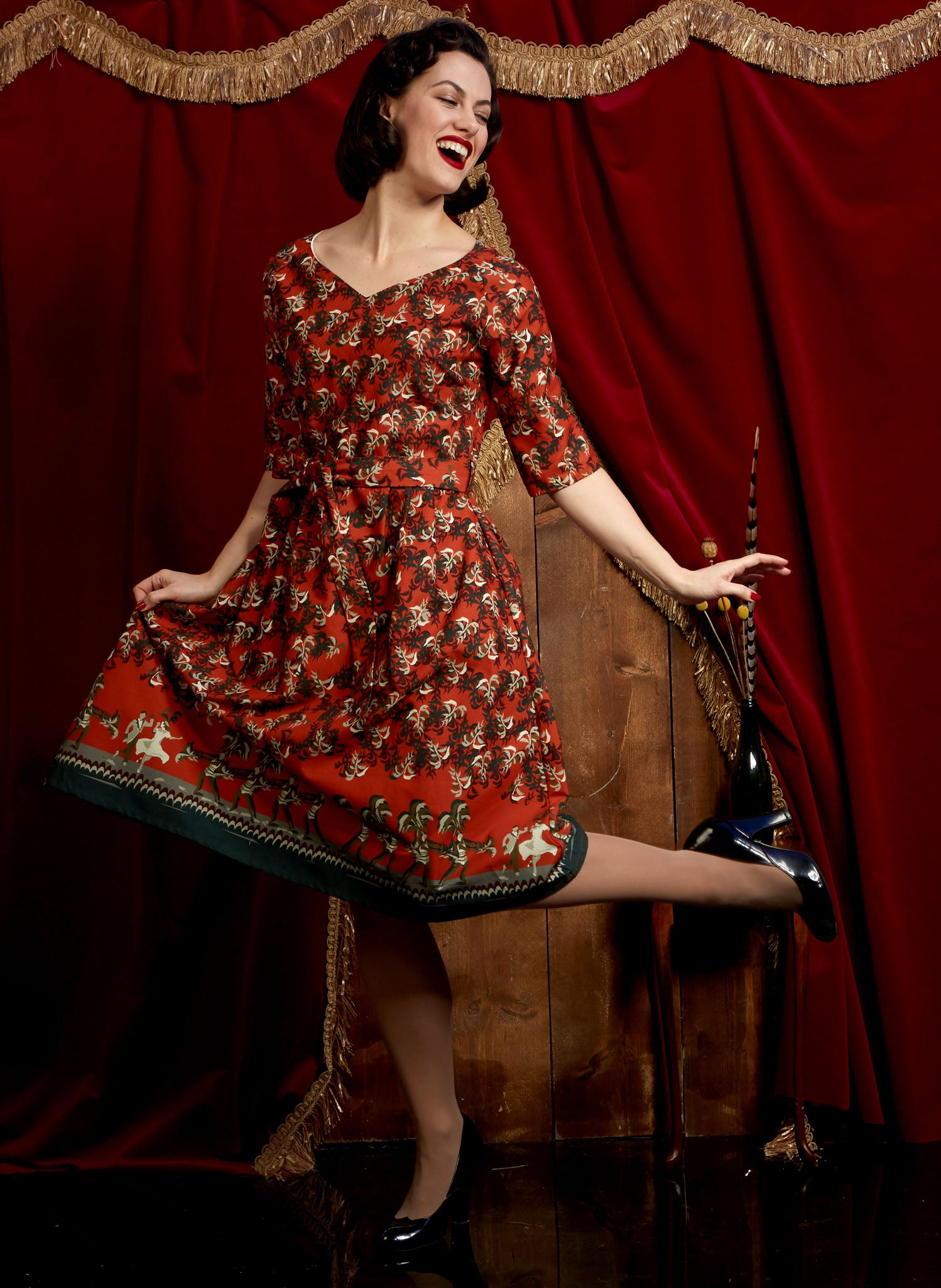 Evelyn - Rust Cabaret Dress