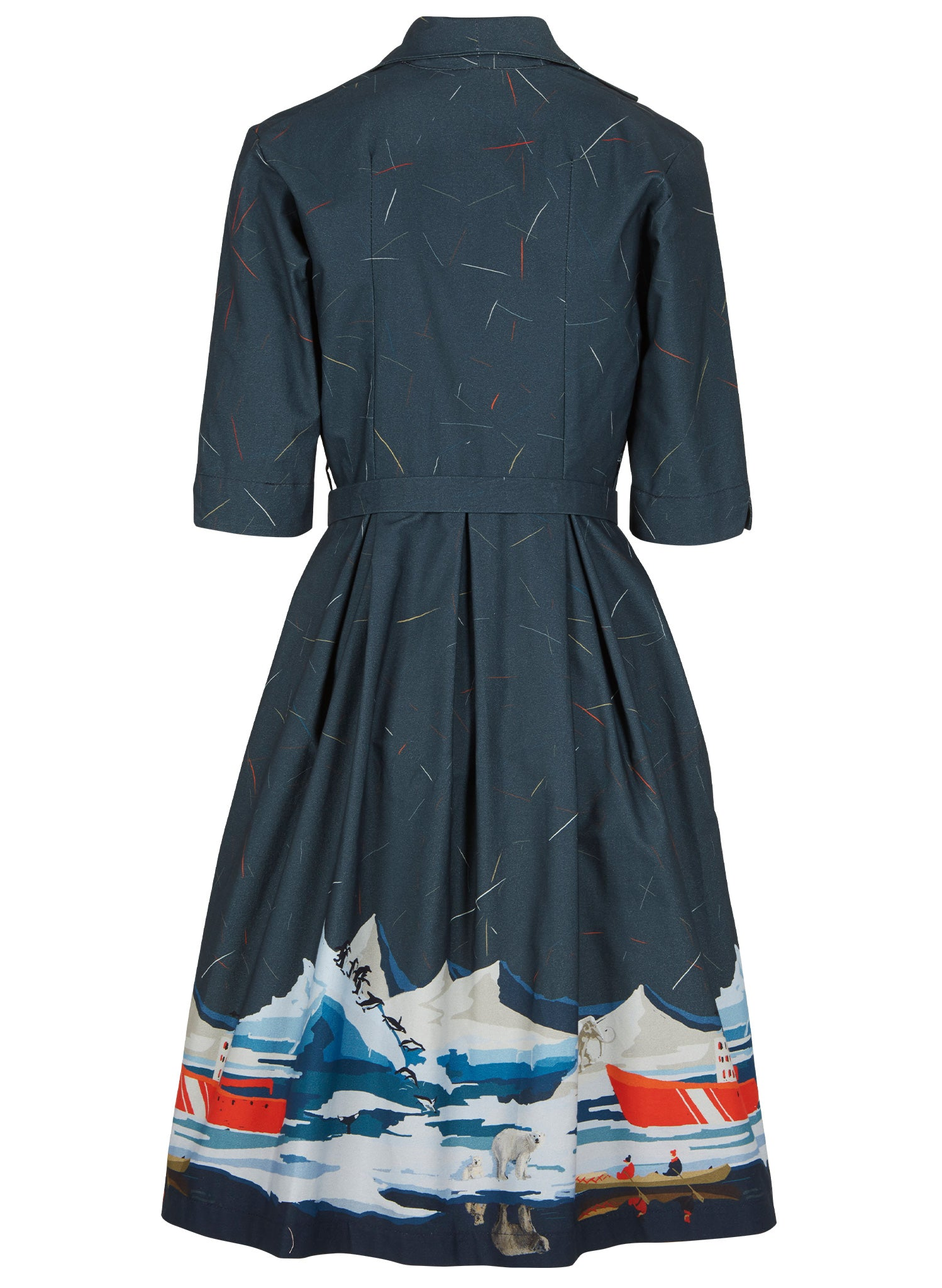 Ida - Steel Blue Arctic Explorer Dress - 100% Organic Cotton