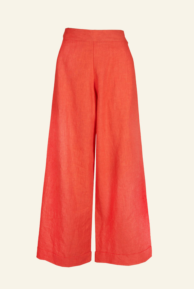 Josephine - Coral Linen Trousers