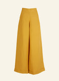 High waisted wide leg palazzo Josephine Trousers | Mustard, Linen