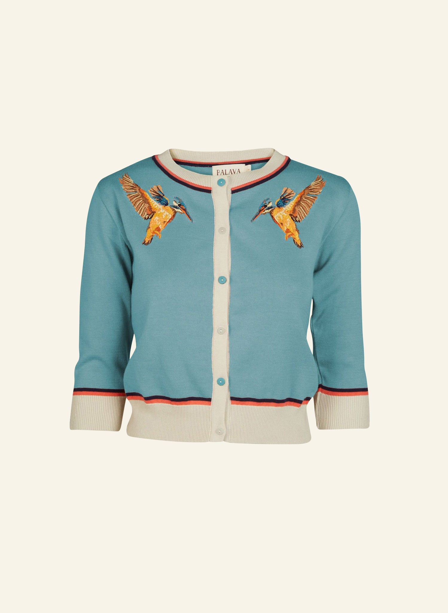 Vera - Teal Kingfisher - Organic Cotton Cardigan