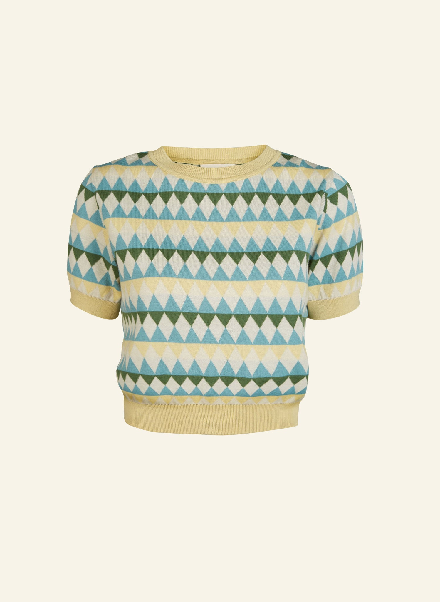 Eve Harlequin Knitted Top - Teal and Lemon | Organic Cotton