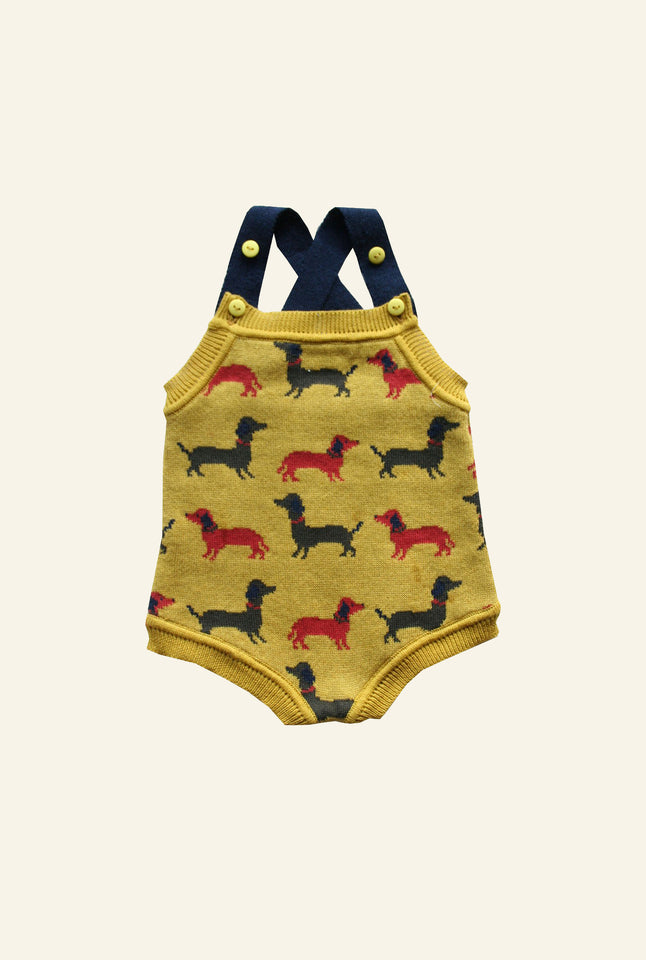 Knitted Romper - Mustard Sausage Dog