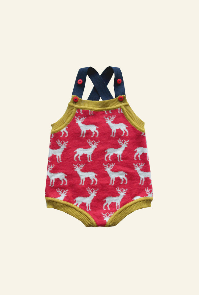 Knitted Romper - Red Reindeer