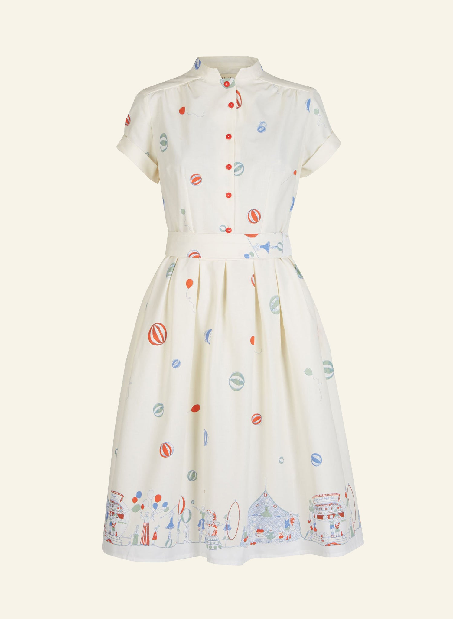 Louise - Cotton Ivory 'Roll Up, Roll Up!' Dress