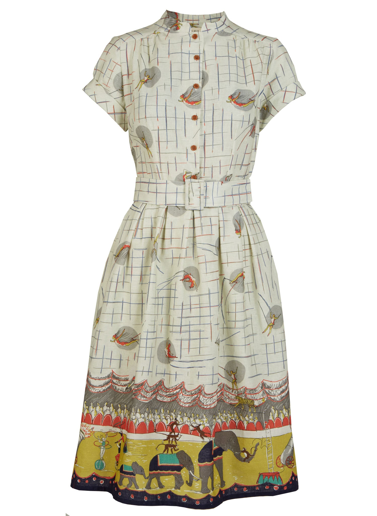 Louise - Ivory Circus Parade Dress | Cotton - Linen Blend