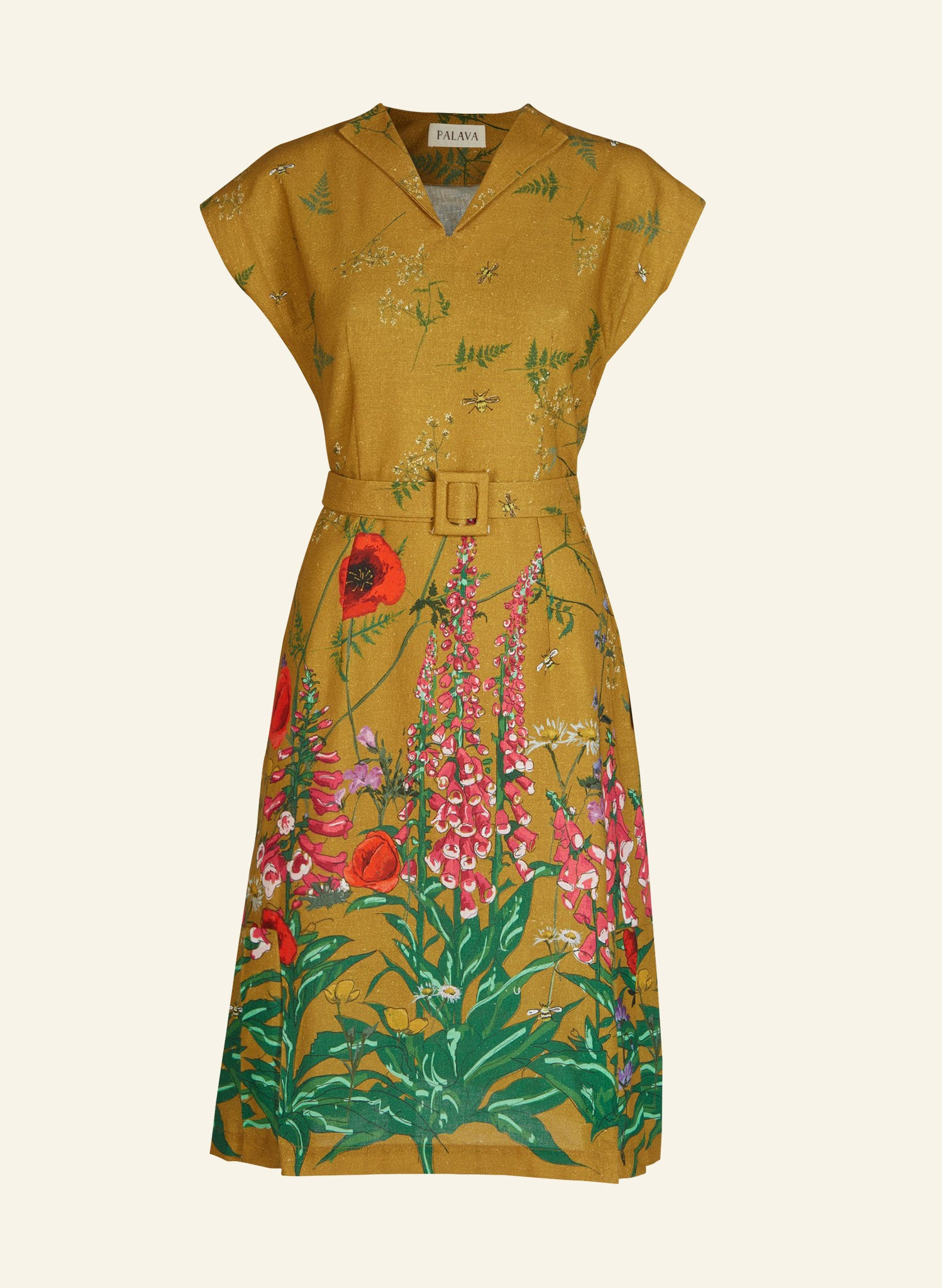 Margo - Mustard Wildflowers Dress | Cotton - Linen Blend