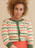 Organic Cotton Classic Cardigan - Coral Green Harlequin