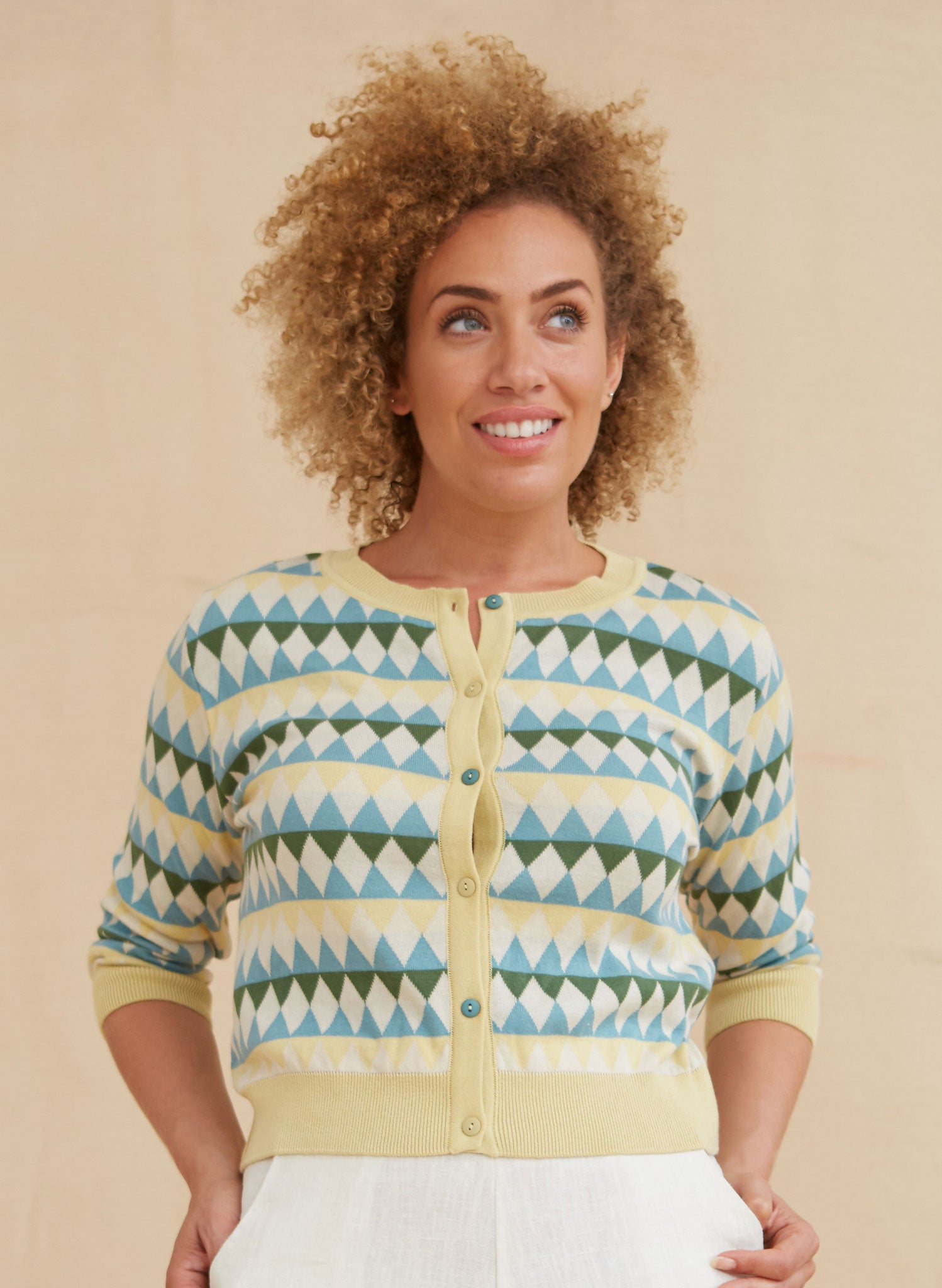 Vera - Lemon Teal Harlequin - Organic Cotton Cardigan