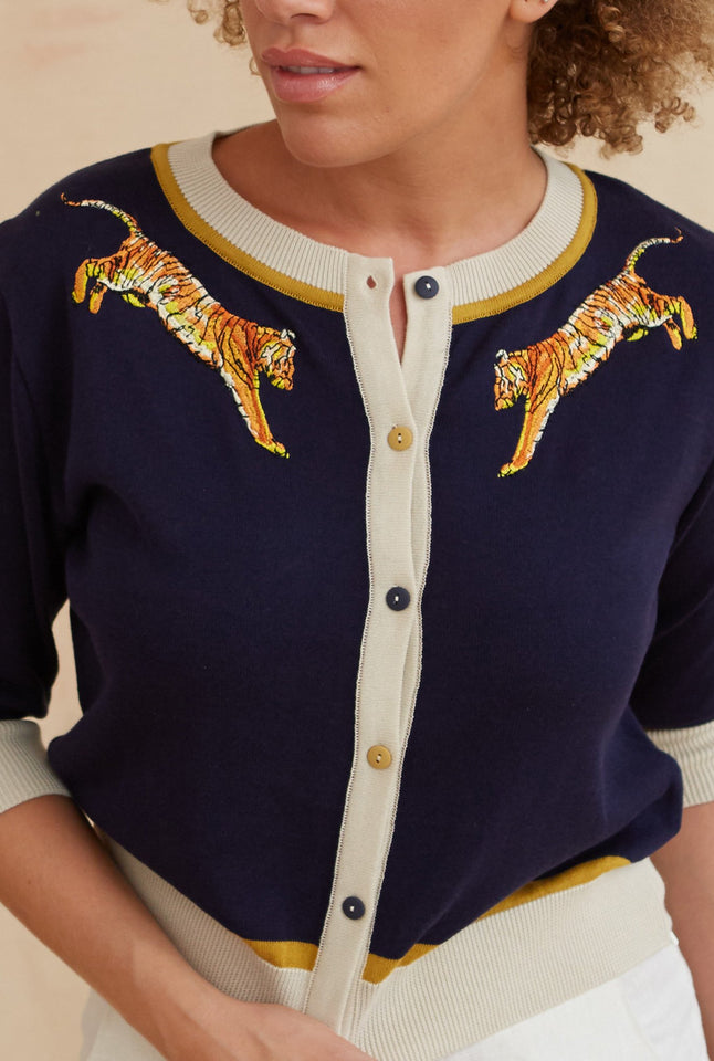 Vera - Small Embroidery Navy Leaping Tiger Cardigan | Organic Cotton