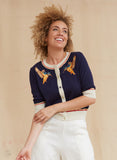 Organic Cotton Classic Cardigan - Navy Kingfisher