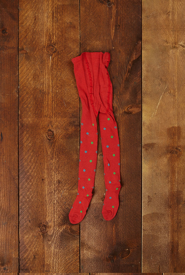 Children's Tights  - Coral Polka Dot - Palava