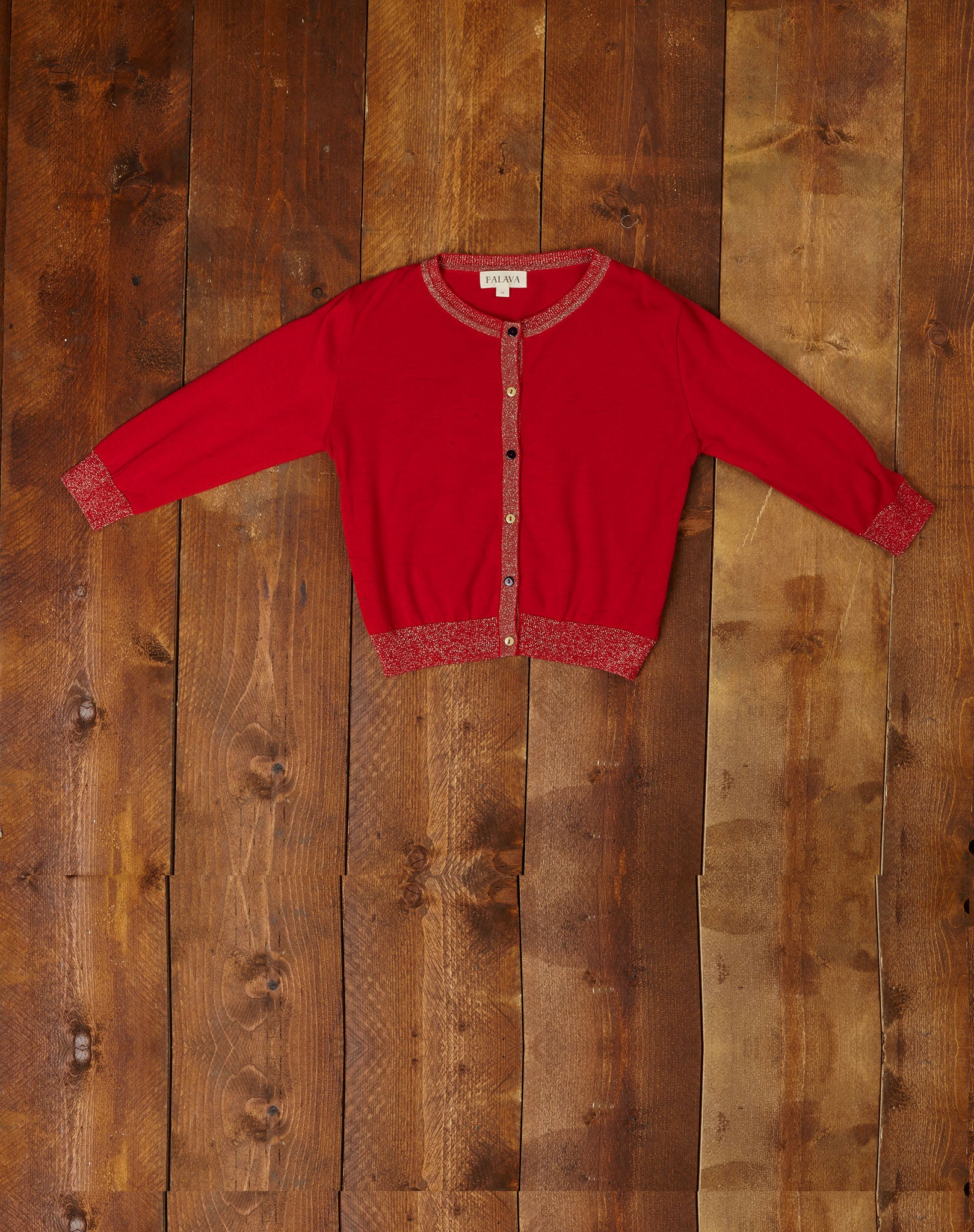 Organic Cotton Cardigan - Sparkly Red - Palava