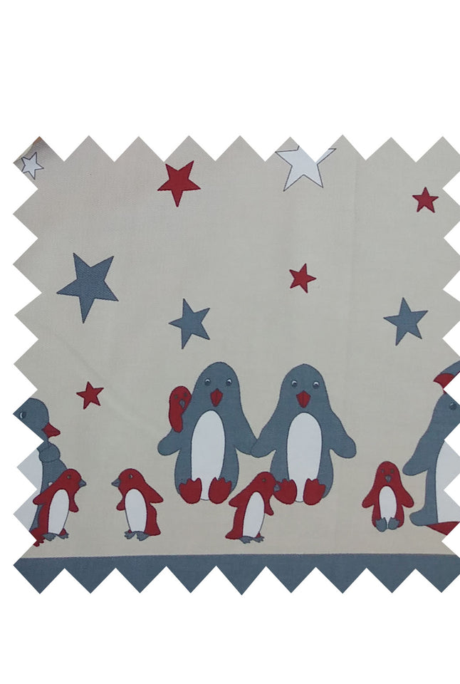 Cream/Grey Penguin Fabric - Cotton