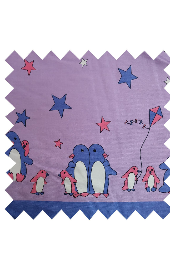 Lilac Penguin Fabric - Cotton twill Fabric