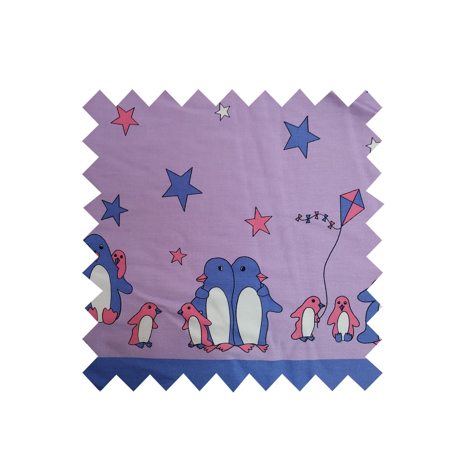 2m Remnant of Lilac Penguin Fabric - Cotton twill Fabric