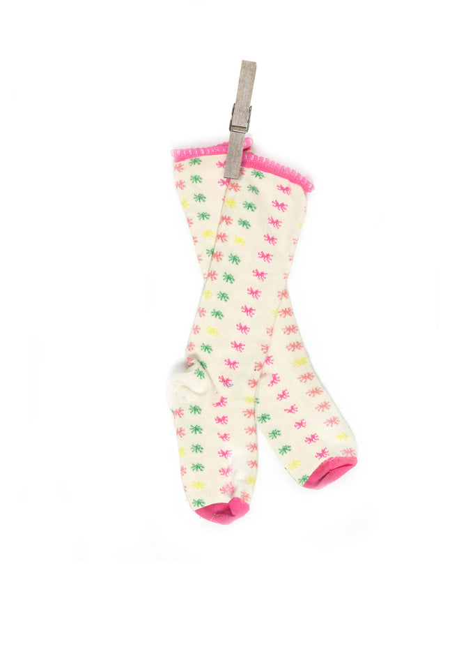 Children's Socks - Cream Neon Star